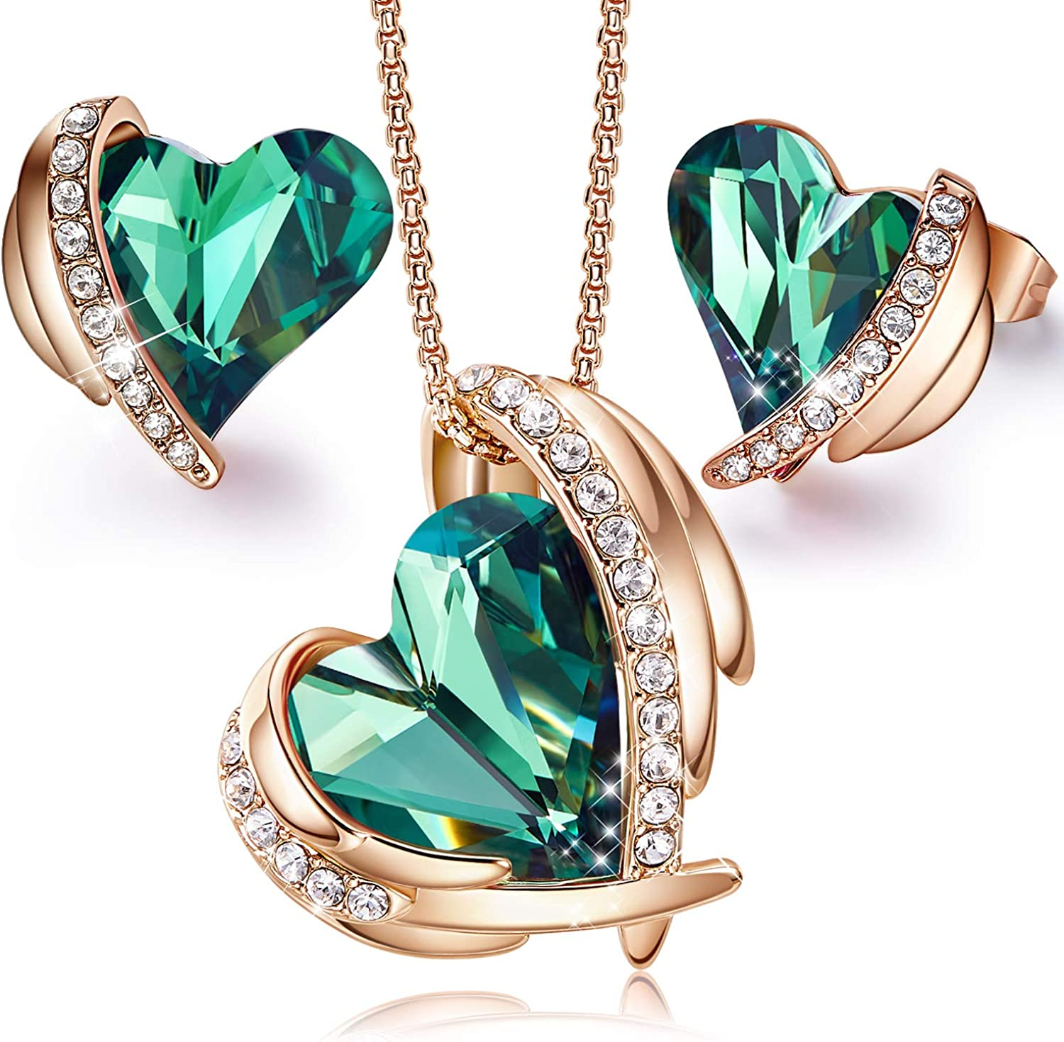 CDE Love Heart Necklaces and Earrings Jewelry Set for Women Rose Gold/Sliver Tone Crystals Birthstone Mother's Day Jewelry Gifts for Women Wife Party/Anniversary/Birthday