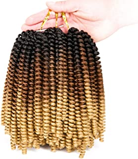 Spring Twist Hair Ombre Colors 3 Packs Synthetic Braiding Hair Extensions 8 inch fashion Crochet Braids (Black plus brown)