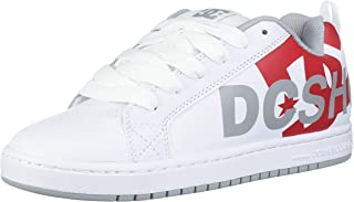 DC Men's Court Graffik SE Skate Shoe, White/Red/Grey, 12 D M US