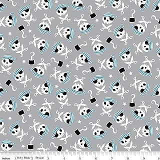 Flannel Pirates Life Skulls Gray Fabric by Riley Blake F7781