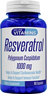 Resveratrol Capsules 1000mg Serving - 180 Capsules - Full 3 Month Supply - Antioxidant Trans Resveratrol Supplement Helps ...