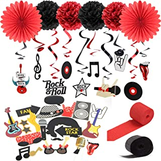"""""""Rock and Roll"""" String Decoration Music Party Sock Hop Party Hanging Swirls Decoration Kit Black Red Color SUNBEAUTY"""