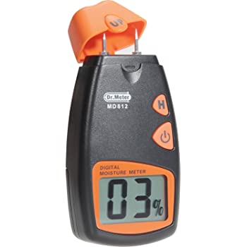 Wood Moisture Meter,Dr.meter damp meter,2 pins Portable Wood Water Moisture Tester, HD Digital LCD Display with 2 Spare Sensor Pins and one 9V Battery(Both Included) Range 5% - 40%,Accuracy: +/-1%