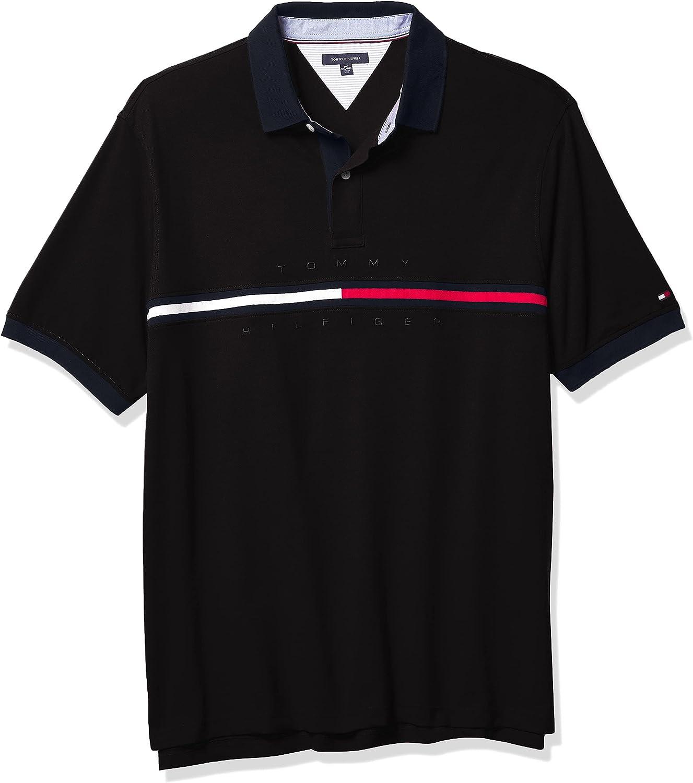 Tommy Hilfiger Men's Big & Tall Short Sleeve Polo Shirt in Customs-Fit, Cs Deep Knit Black, 4XL