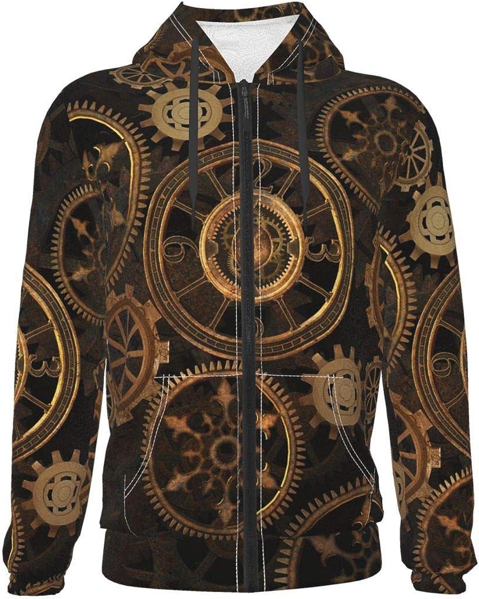 Vintage Steam Gear Kids & Youth Full-Zip Fleece Hoodie Boys Novelty Hooded Sweatshirt Jacket Pockets