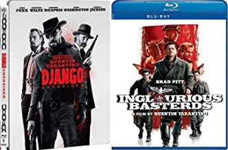 Riveting War & Wild Western Quentin Tarantino 2 Pack Double Feature Django Steelbook & Inglorious Basterds Blu Ray 2 Pack Movie Time Madness