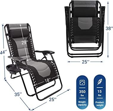 AsterOutdoor Padded Zero Gravity Chair Adjustable Reclining Lounge Chair Recliners with Pillow and Side Table for Patio, Lawn