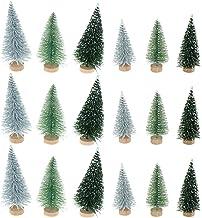 IYSHOUGONG 30 Pcs Artificial Mini Sisal Christmas Tree Mini Pine Tree Wood Base Home Table Top Decor Christmas Ornaments
