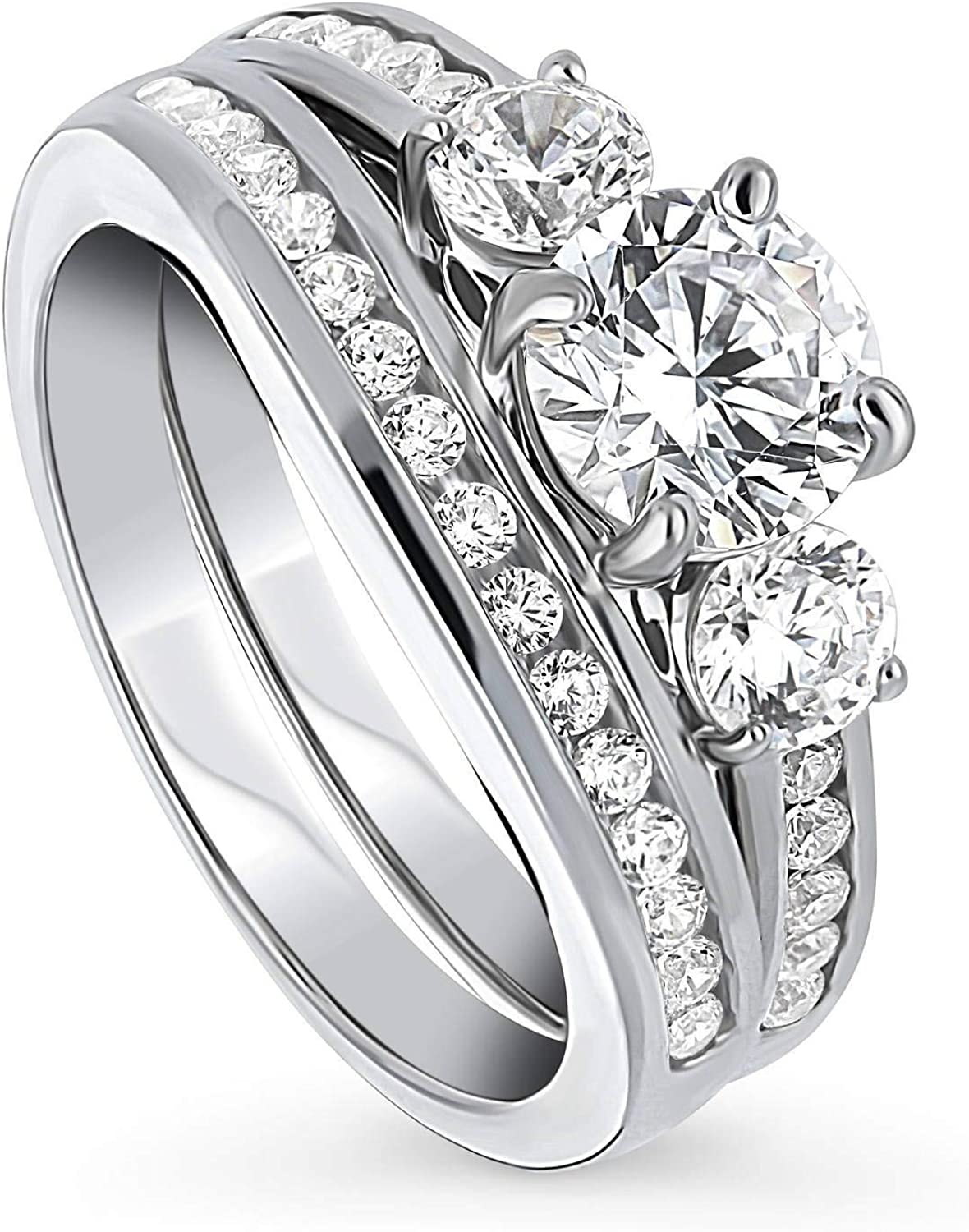BERRICLE Rhodium Plated Classic Max 62% OFF Sterling Silver Round Cubic Zirconia CZ
