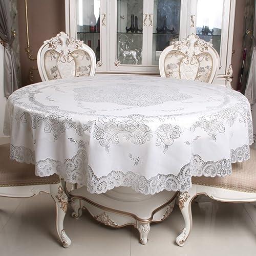 Küchenwäsche PVC runde Tischdecke, Gold und Silber Druck Runde Kaffeetisch Tischdecke 180cm ( Farbe   B , Größe   Round-180cm )