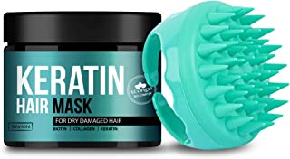 SAVION Keratin Protein Hair Treatment Mask Complex & Soft Silicone Scalp Massager, Deep Conditioning Hair Treatment for Dr...