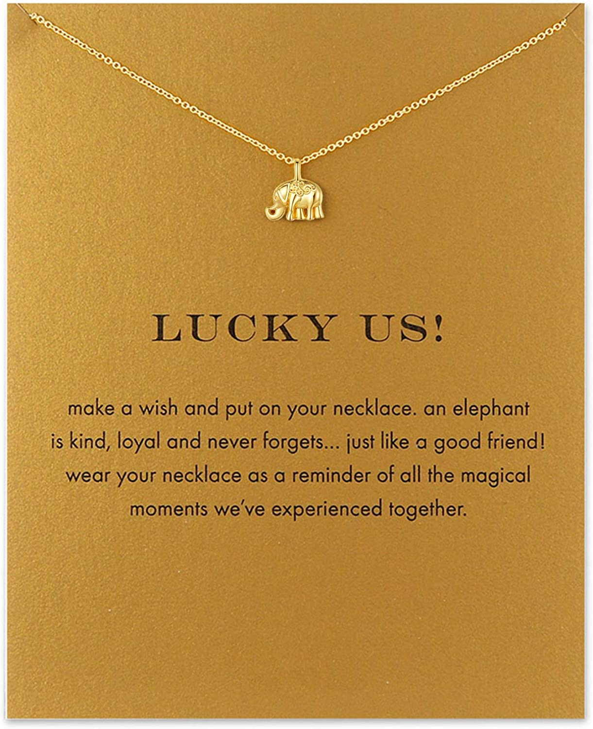 Baydurcan Friendship Anchor Compass Necklace Good Luck Elephant Pendant Chain Necklace with Message Card Gift Card