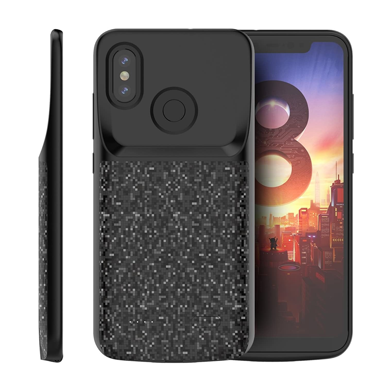 正確恥ずかしさ休憩するPhoebe Xiaomi Mi 8 電池ケース ポータブル 充電器ケース スマホケース Battery Case 保護の 電源 ケース 外部 電池 充電式 バックアップ ケース (Black)