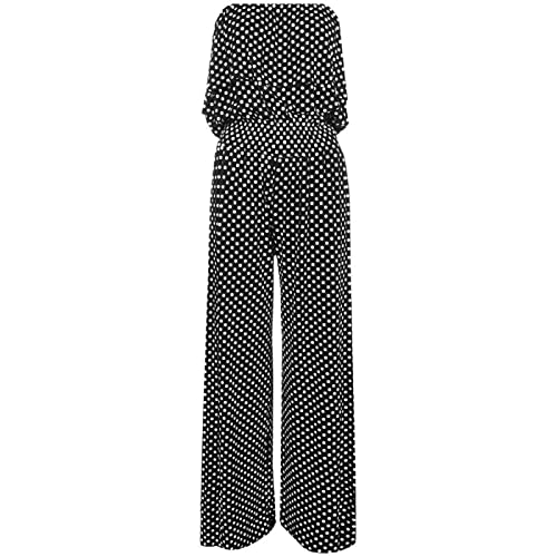 9d2ed2cae9 New Ladies Womens Black and White Polka Dot Print Frill Top Palazzo  Playsuit Jumpsuit Plus Size