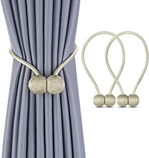 SKY TOUCH 1 Pair Magnetic Curtain Tiebacks Magnetic Curtain Straps Strong Magnetic Curtain Buckle for Home Office, Beige