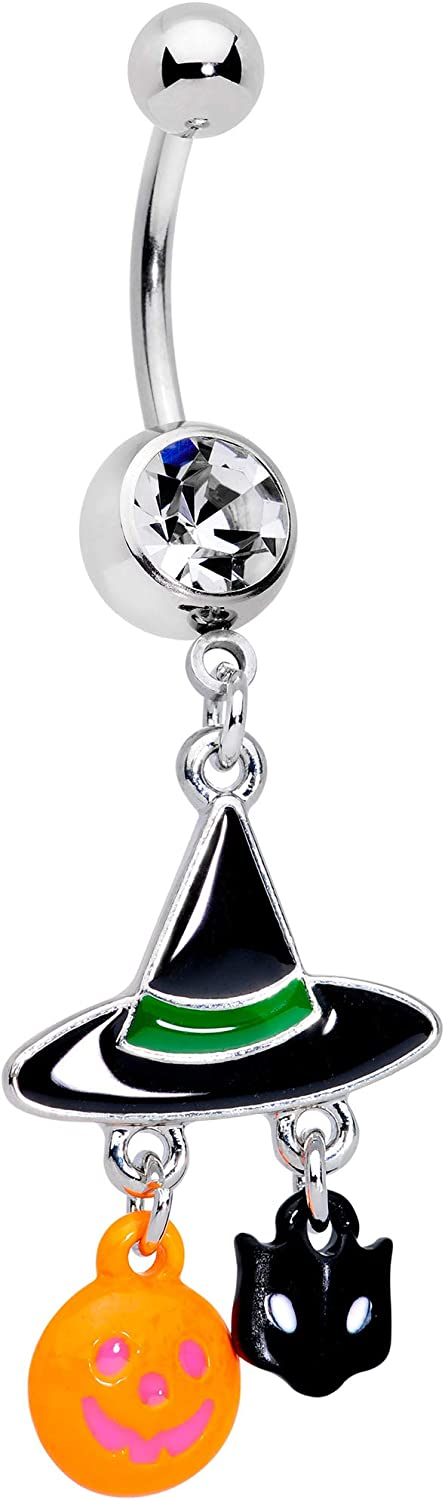 Body Candy Womens 14G Steel Navel Ring Piercing Clear Accent Witch Hat Bat Pumpkin Dangle Belly Button Ring