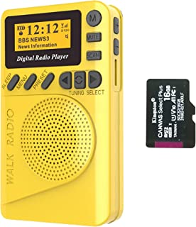 SIHUADON DAB/DAB Digital FM Radio Portable Radio with Mains and Battery Powered USB Charging With MP3 Player Yellow (16G)