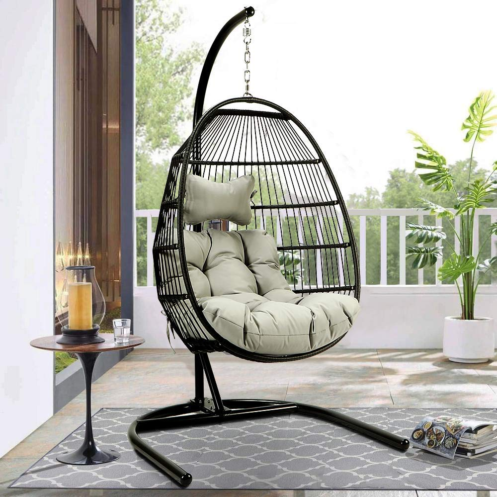 Hanging Hammock Swing Chair Egg Wicker Stand Seat Cover Patio Garden Outdoor