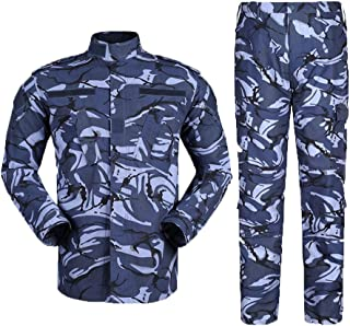 LANBAOSI 2 Piece Suit Men Military Tactical Jacket and Pants with Velcro Patches