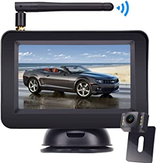 HD Wireless Backup Camera with 4.3 Inch LCD Monitor Kit, Stable Signal Transmission Rear/Front View Camera Suitable for Cars,Vans,SUVs IP69K Waterproof Guide Lines On/Off