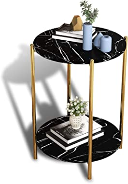 Black Marble Round Side end Table,Gold Metal nightstand for Small Spaces