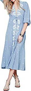 Womens Boho Floral Embroidered Casual Drawstring Tie Cotton Long Dresses