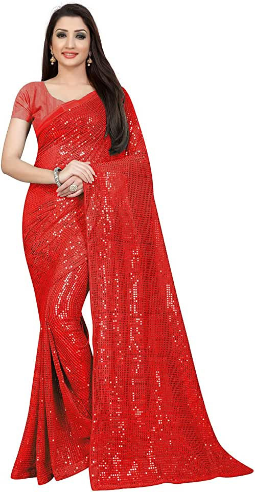 Indian Clemira Women's Georgette Saree With Unstiched Blouse Piece Saree