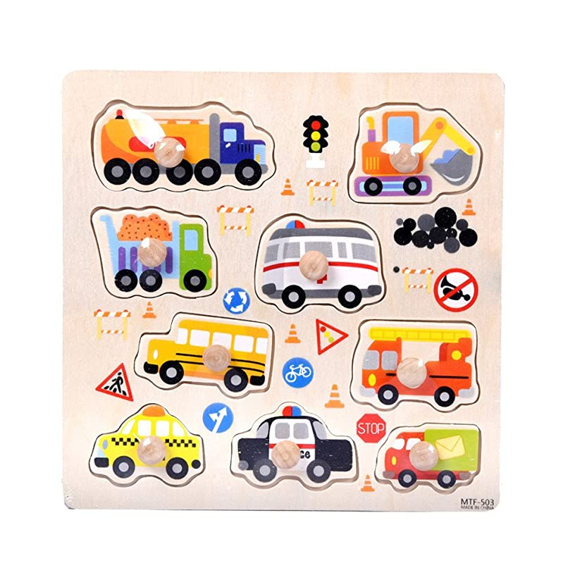 Philohewen Wooden Transportations Peg Puzzle Game Creative Toddler Knob Puzzle Toys Gifts for Toddler