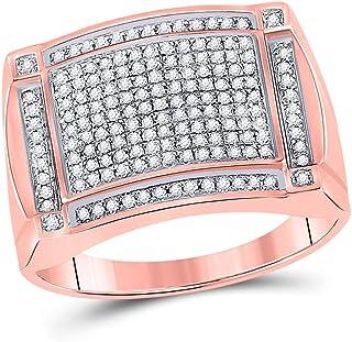 FB جواهر 10kt روز الذهب الرجال جولة الماس العنقودية الدائري 1/2 Cttw