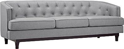 Modway Coast Fabric Upholstered Contemporary Modern Sofa, Light Gray