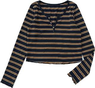 Women's Long Sleeve Bohemian Colorblock Striped Print Crop Tee Shirt Top