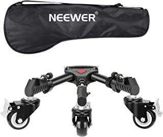 Neewer Photography Tripod Dolly, Heavy Duty with Larger 3-inch Rubber Wheels, Adjustable Leg Mounts and Carry Bag for Trip...