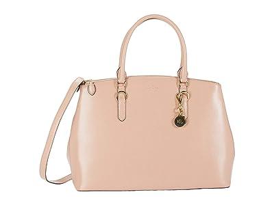 LAUREN Ralph Lauren Saffiano Double Zip Satchel Large (Mellow Pink) Satchel Handbags