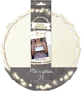 SCRAP COOKING 4950 ScrapCooking Lumineux LED-Plat Rond Diamètre 26,5 cm pour Gâteaux, Tartes, Pâtisseries & Desserts-Acces...