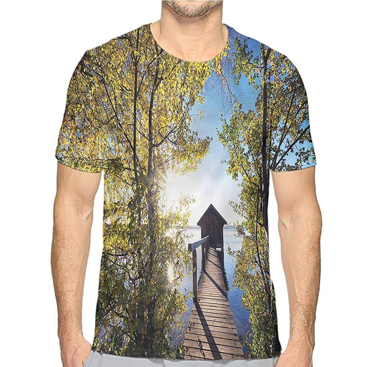 Funny t Shirt Nature,Lake Scenery Cottage Men's and Women's t Shirt