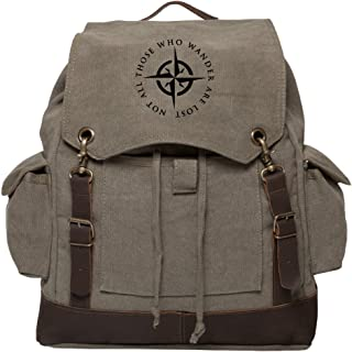 LOTR Not All Those Who Wander Are Lost Rucksack Backpack, Olive & Black
