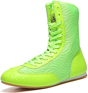 WJFGGXHK Mens Boxing Shoes High Top Boxing Wrestling Shoes Breathable Non-Slip Weightlifting Boots for Kids Adult Boys And...