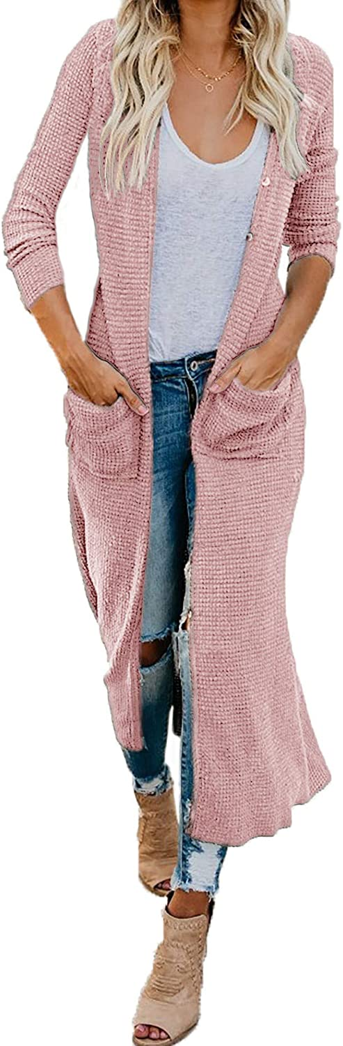 HZSONNE Women's Boho Long Casual Cardigan Long Sleeve Button Down Front Pocket Knitted Sweater Blouses