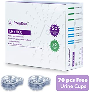 Ovulation Test Strips & Pregnancy Test Kit, 50 LH and 20 HCG Urine Test Strips with 70 Collection Cups, Monitor and Track Fertility, High Sensitivity Result for Women Home Predictor Testing