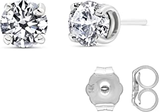 Galaxy Gold Stunning 1 Carat (CTW) Natural Round Brilliant Diamond 14k White Gold Stud Earrings H-I Color, SI1-SI2 Clarity