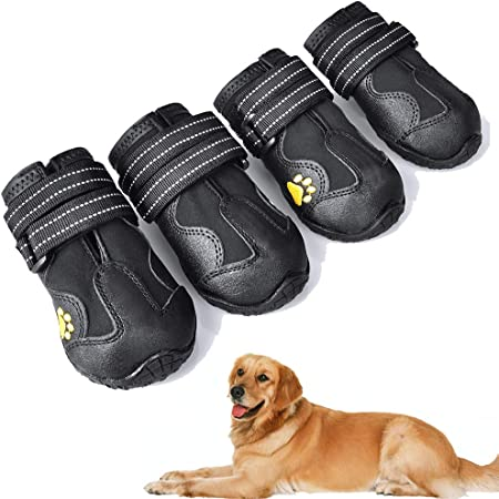 XSY&G Dog Boots,Waterproof Dog Shoes,Dog Booties with Reflective Rugged Anti-Slip Sole and Skid-Proof,Outdoor Dog Shoes for Medium Dogs 4Ps