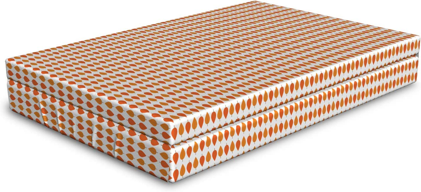 Ambesonne Lowest price challenge Autumn Dog Great interest Bed Tangerine Tones Fallen Leaf Pile Leave