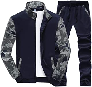 Mens Zip Up Top Two Piece Splicing Sportswear Camouflage Printed Long Pants Set