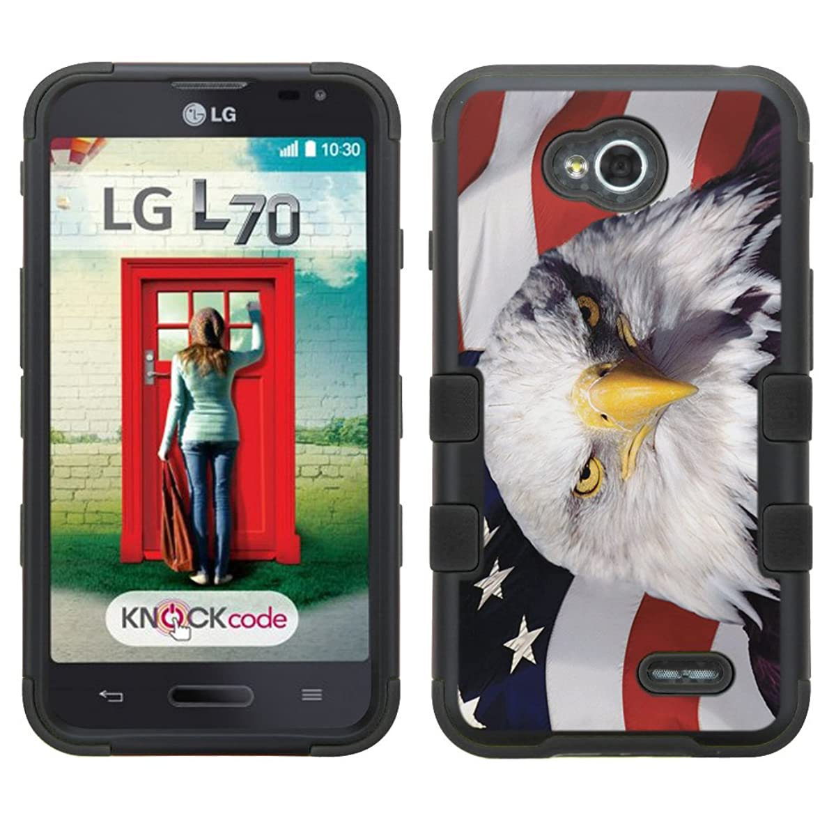 lg ultimate 2 case - [USA Flag Eagle]( Black / Black)UNIQUITI(TM) cell phone armor cover [TuMax] dual layer hybrid hard skin guard ultra protective shell (for lg ultimate 2 optimus l70 l41c )