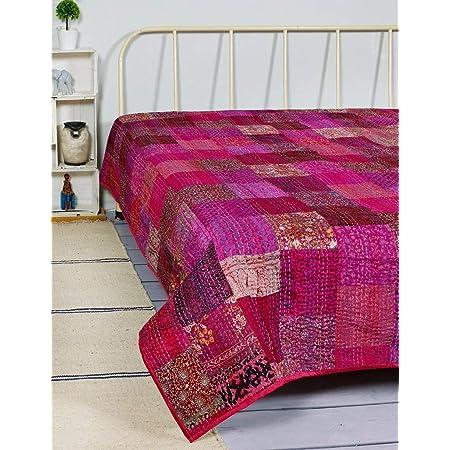 Indian Throw Kantha Quilt Indian Handmade 100/% Cotton Bedspread Patchwork Quilt 191
