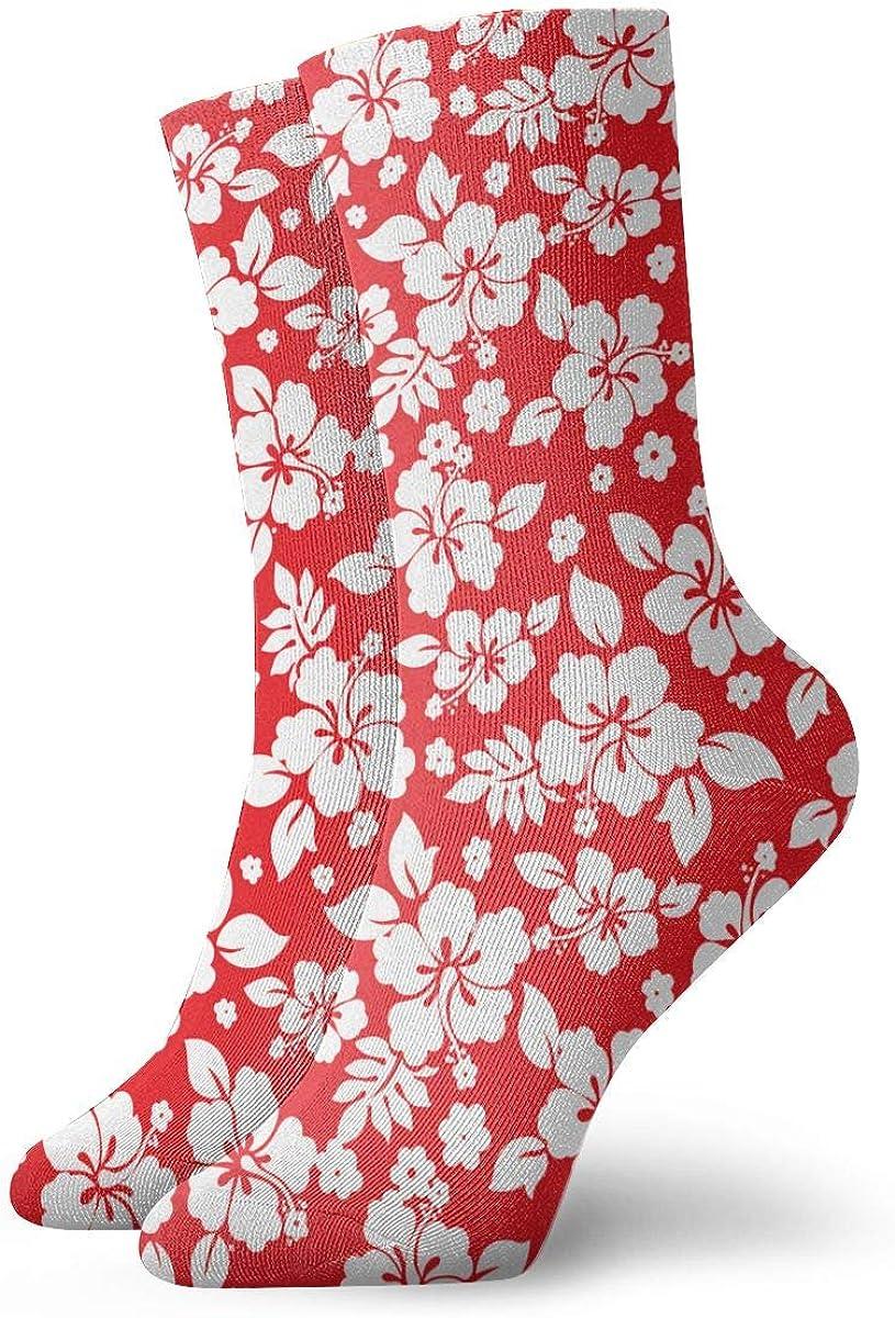LCZ Aloha Hawaiian Flora Hibiscus Red Athletic 30cm Socks Ankle Socks Sport Casual Socks Cotton Crew Socks