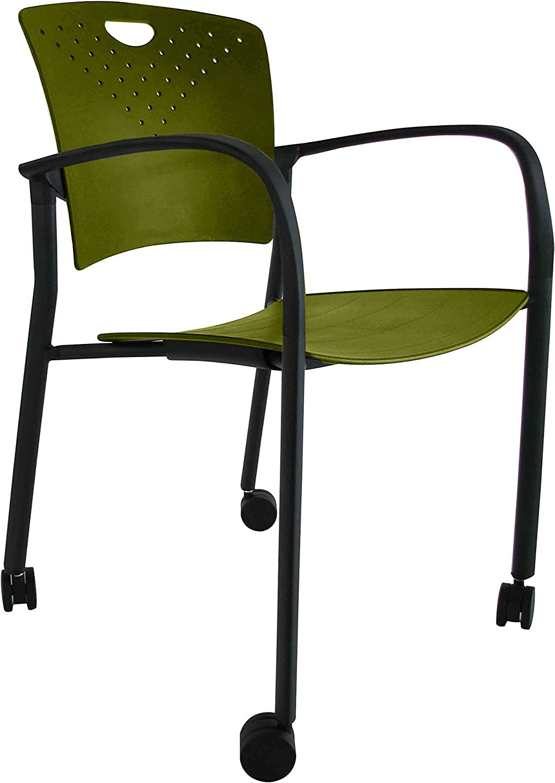 Euredech Seating STAQ-Glide-colors STAQCASGRN Guest Chair, Green