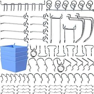 Wangday Pegboard Hooks Accessories, Peg Board Hook Attachments Set with Pegboard Bins, Peg Locks