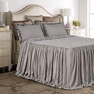 Queen's House Ruffle Skirt Bedspread Grey Shabby Farmhouse Style Lightweight 3 Piece Set King