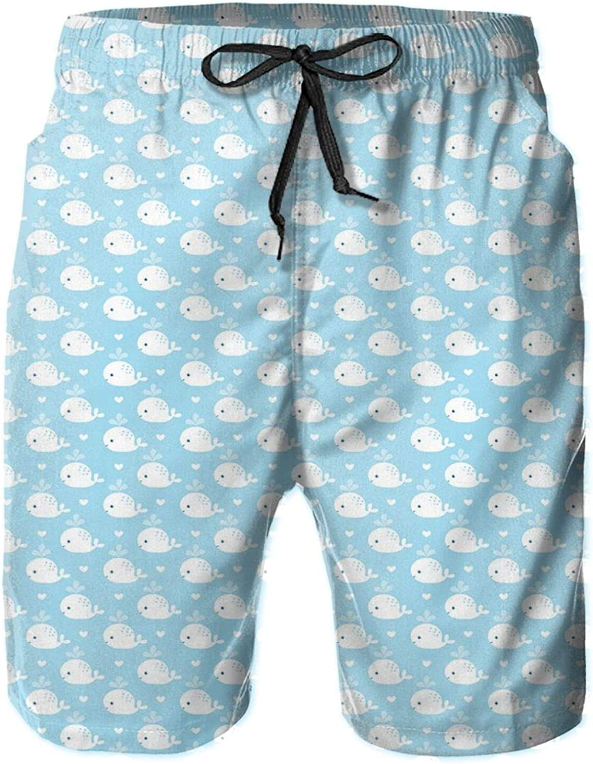 Young Marine Animals Squirting Water with Little White Hearts Baby Shower Design Drawstring Waist Beach Shorts for Men Swim Trucks Board Shorts with Mesh Lining,L